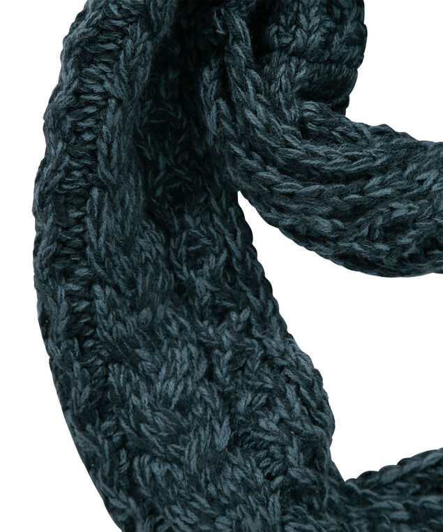 Cable Knit Eternity Scarf, Teal, hi-res