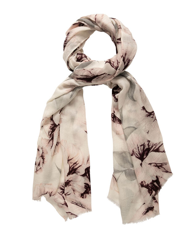 Oversized Floral Print Oblong Scarf, Milkshake/Port/Soft Grey, hi-res