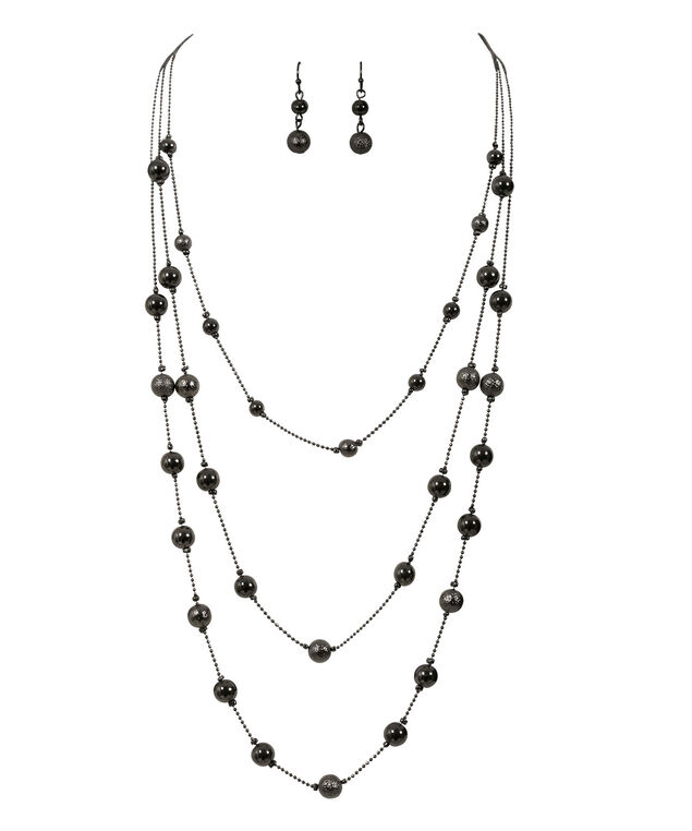 STATIONED BEAD NECKLACE, Hematite, hi-res