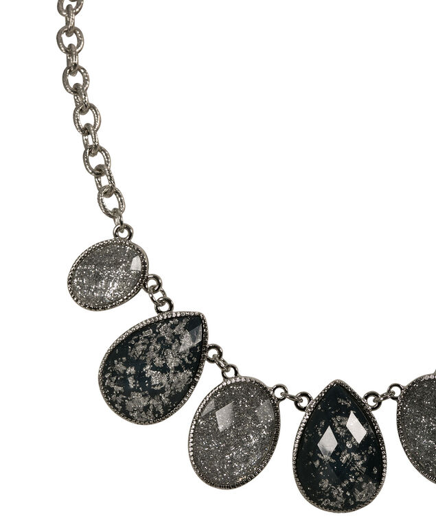 Glitter Stone Statement Necklace, Deep Teal/Burnished Silver, hi-res