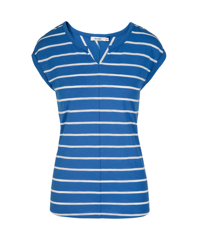 Extended Sleeve Notch Neck Tee, Blue/White, hi-res