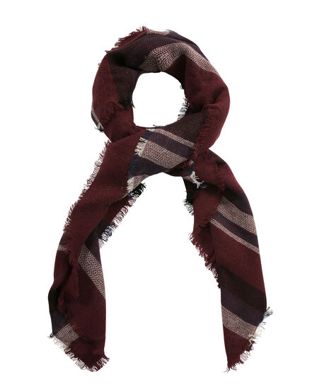 Striped Square Blanket Scarf, Wine Mix, hi-res