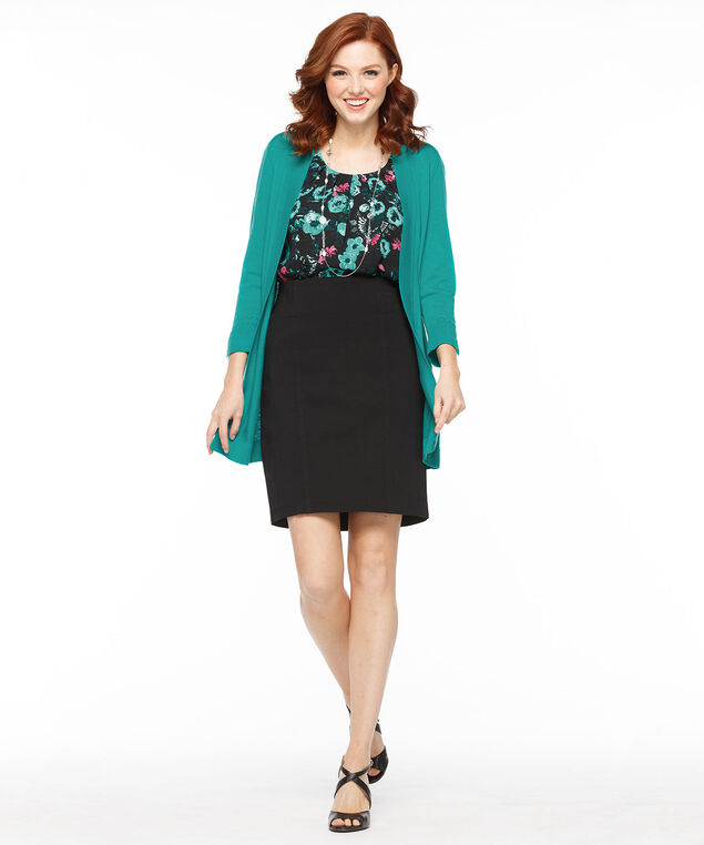 Flutter Sleeve Pleat Neck Blouse, Black/Teal Print, hi-res