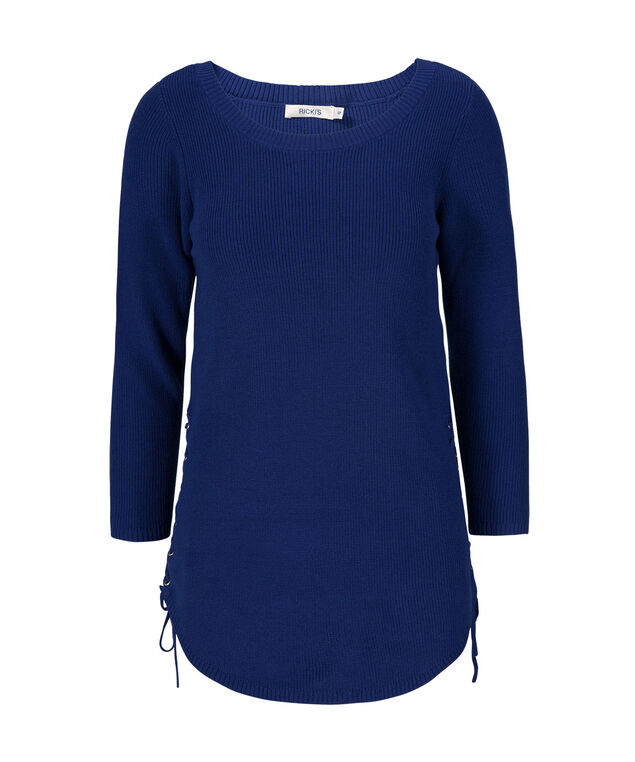 Lace Up Side Pullover, Mid Blue, hi-res
