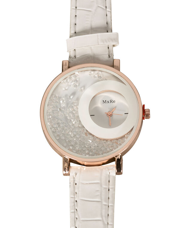 "Floating Crystals ""Croc"" Watch, White/Rose Gold, hi-res"