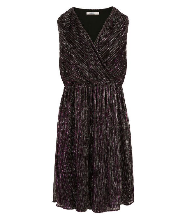 Crossover Fit & Flare Dress, Purple, hi-res