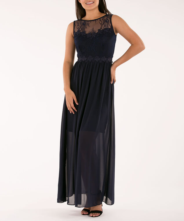 Illusion Neck Maxi Dress, Navy, hi-res