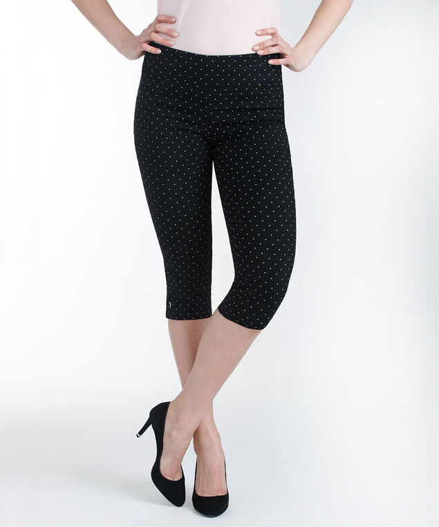 Microtwill Side Tab Capri, Black/White Dot, hi-res