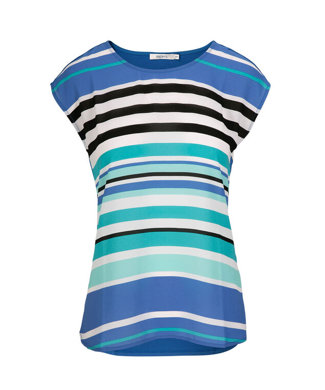 Extended Sleeve Mixed Media Top, Blue Stripe, hi-res