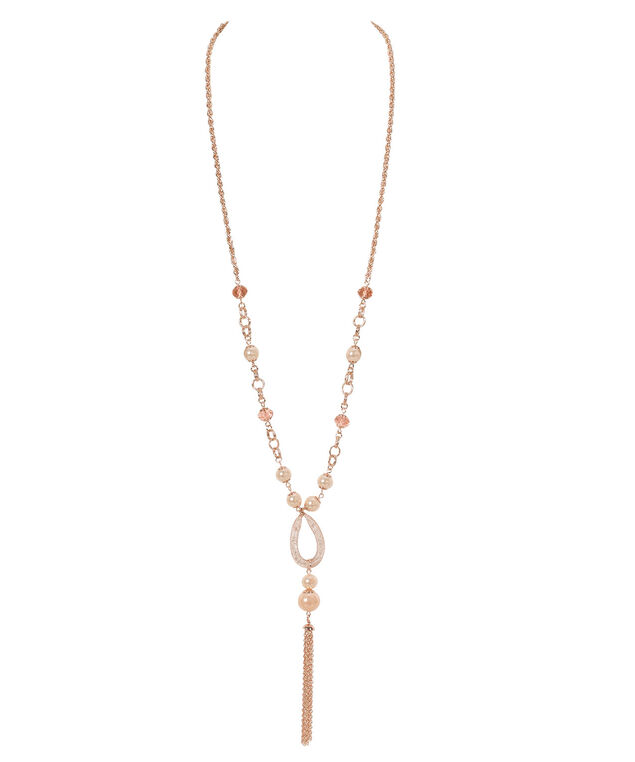Stationed Pearl & Caged Crystal Necklace, Pink/Pearl/Rose Gold, hi-res