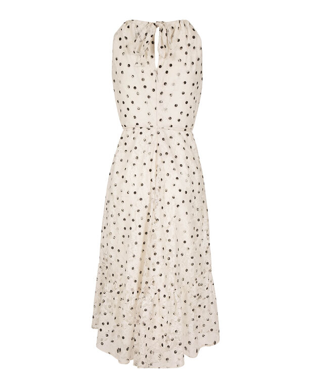Polka Dot Lace Dress, Ivory/Black, hi-res