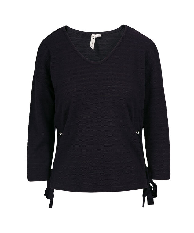Lace-tie Grommeted V-Neck Top, Navy, hi-res