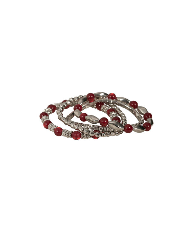 STRETCH BRACELET WITH OPAL AND CRYSTALS, Crimson/Rhodium, hi-res