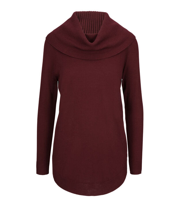 Cowl Tunic Sweater, Burgundy, hi-res