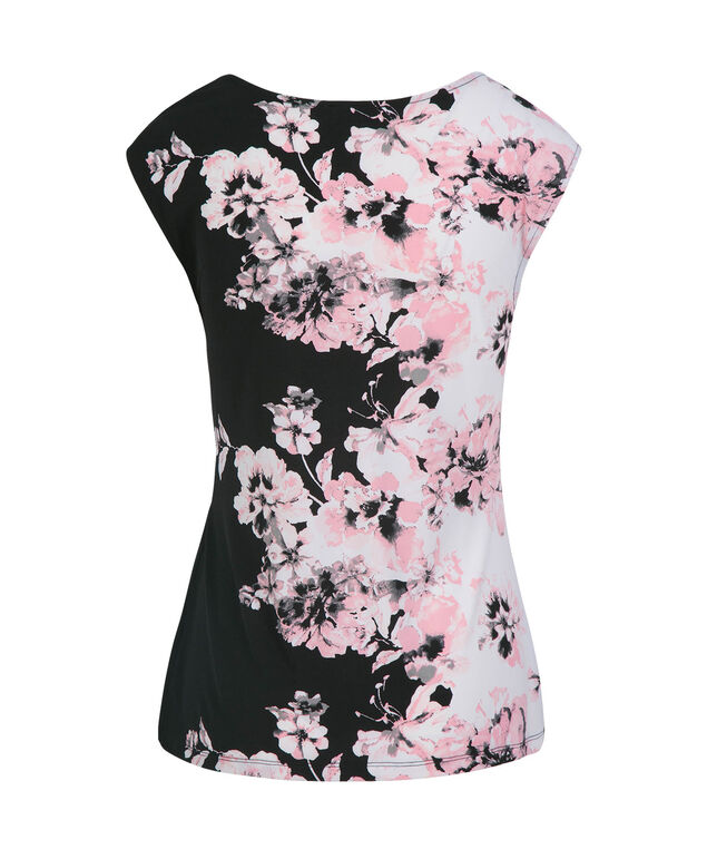 Floral Placement Print Ruched Top, White Print, hi-res