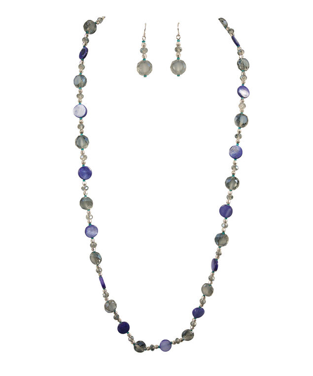 Stationed Natural & Faceted Stone Necklace Set, Deep Sapphire/Silver, hi-res