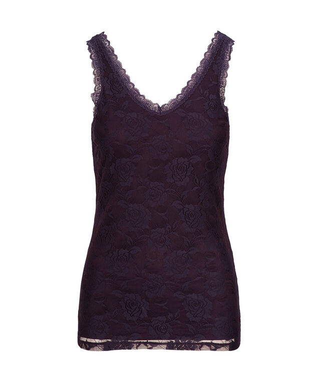 V-Neck Lace Tank, Blackberry, hi-res