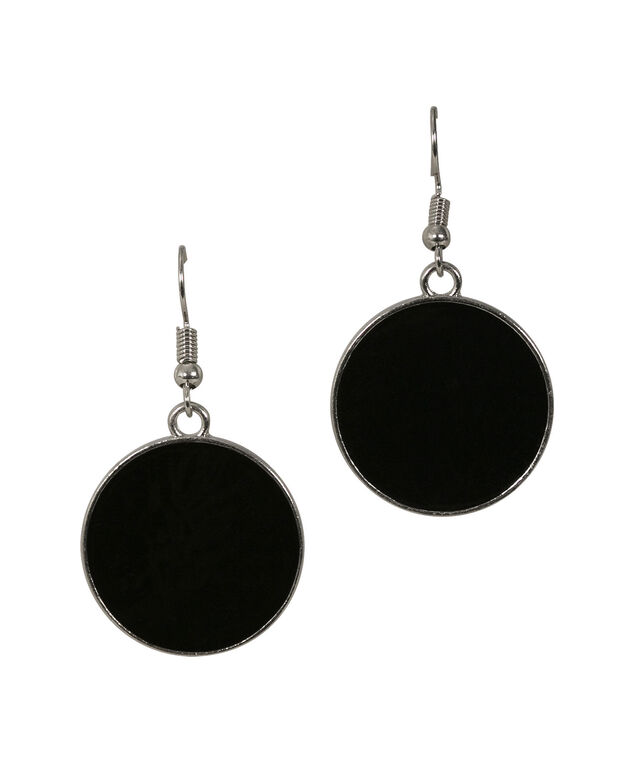 EPOXY CIRCLE EARRING, Black/Rhodium, hi-res