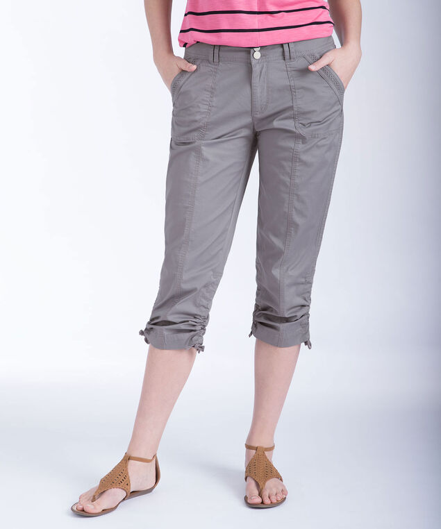 Ric-Rac Trim Ruched Capri, Grey, hi-res