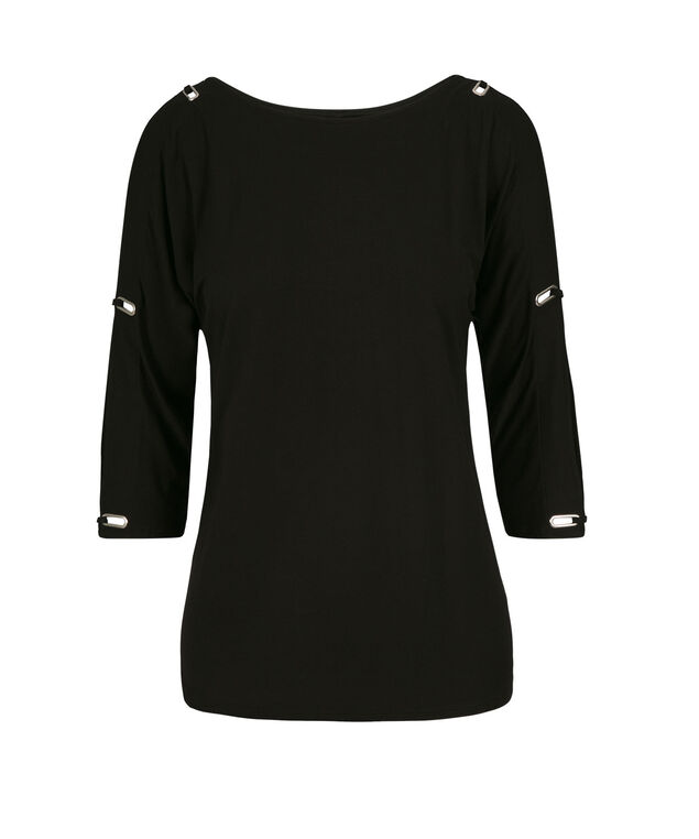 Grommet Cold Shoulder Top, Black, hi-res