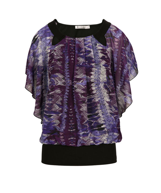 Dolman Pleat Neck Top, Purple Print, hi-res