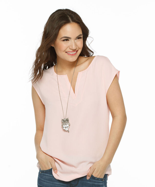 Extended Sleeve Mixed Media Henley Top, Misty Pink, hi-res