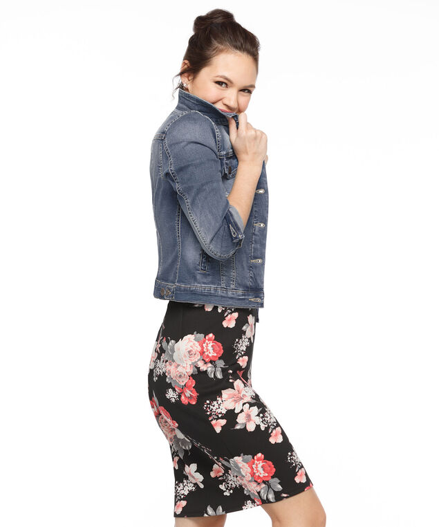 Floral Scuba Pencil Skirt, Black/Strawberry Daiquiri, hi-res