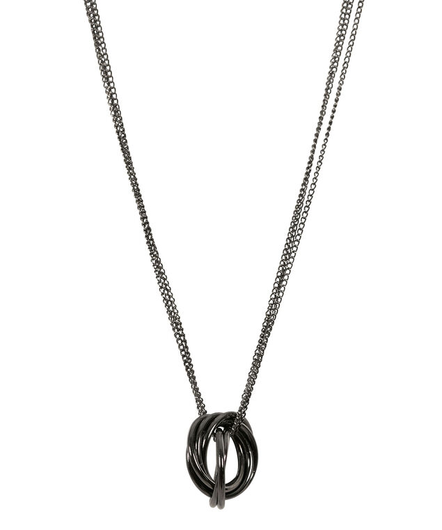 Intertwined Ring Necklace, Hematite, hi-res
