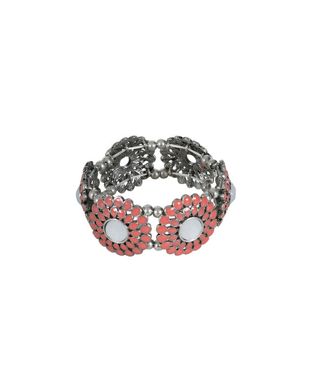 Coral Beaded Stretch Bracelet, Coral/White/Silver, hi-res