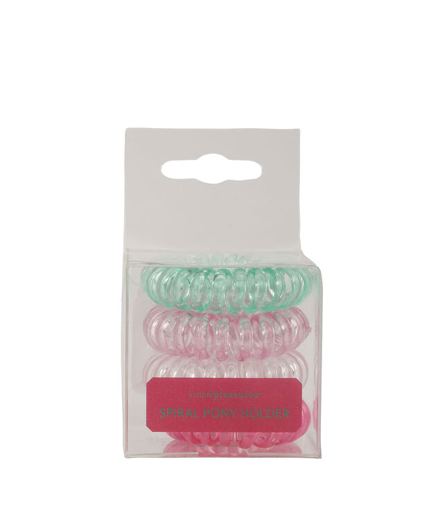 Spiral Ponytail Holder Set, Pink/Clear/Green, hi-res