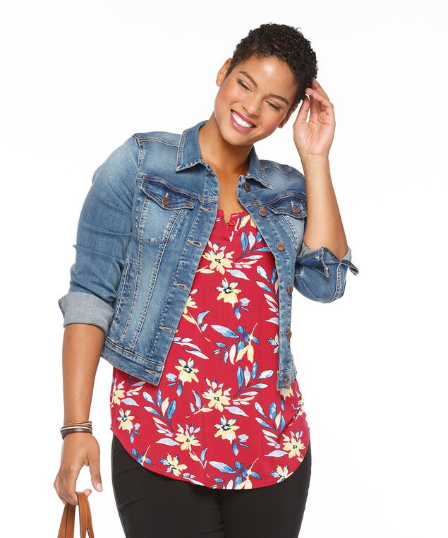 Notch Neck Tank, Red Floral Print, hi-res