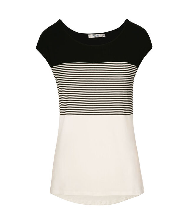 Extended Sleeve Colour Block Tee, Black/Milkshake, hi-res