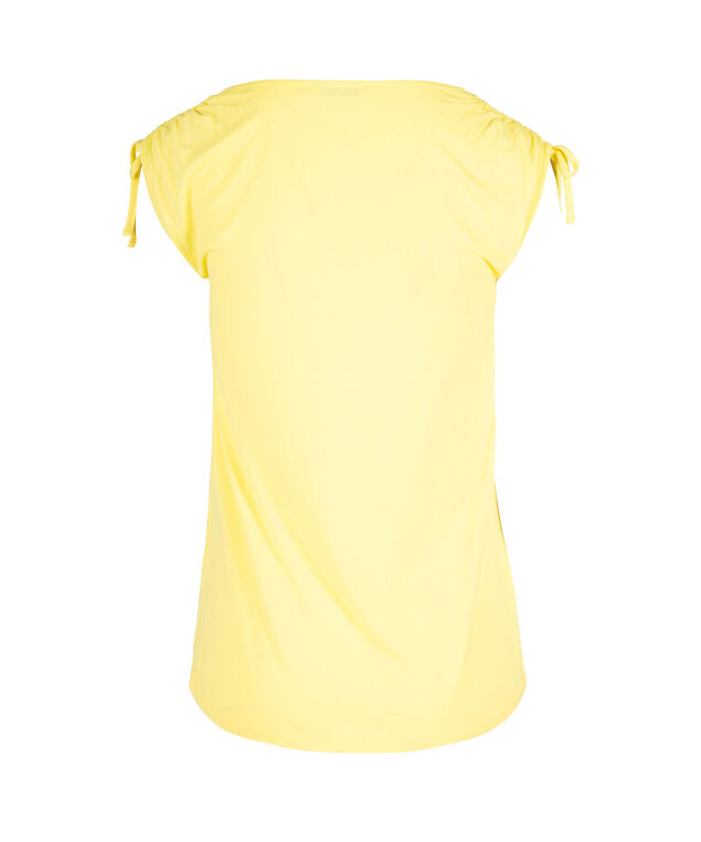 Tie Sleeve V-Neck Tee, Yellow, hi-res