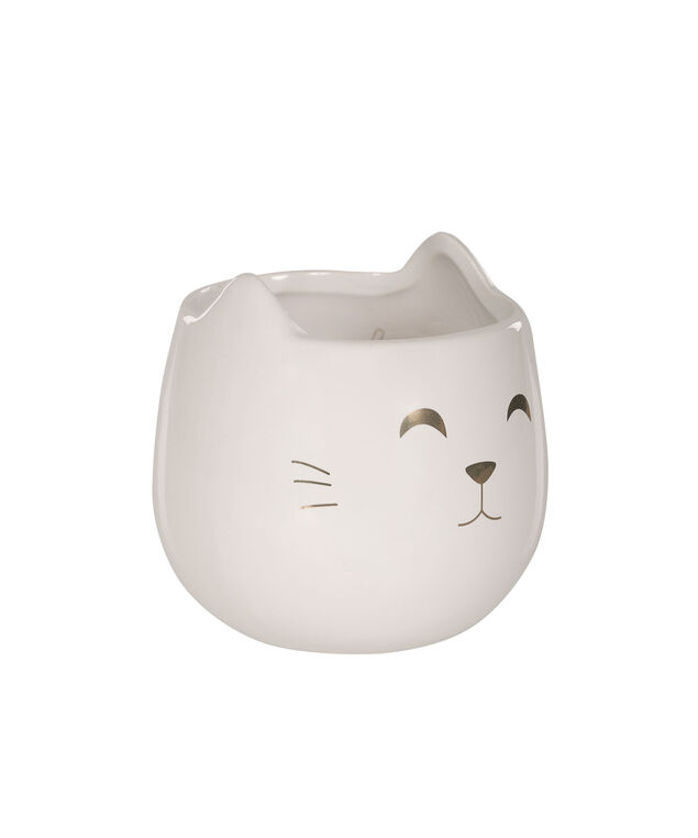 Vanilla Caramel Scented Cat Candle, White/Gold, hi-res