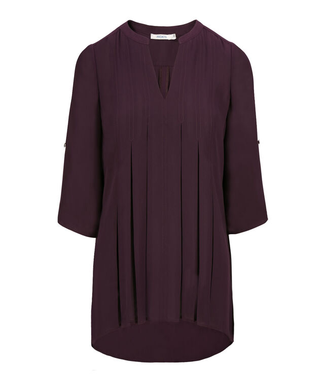 Pleated Front Blouse, Dark Purple, hi-res