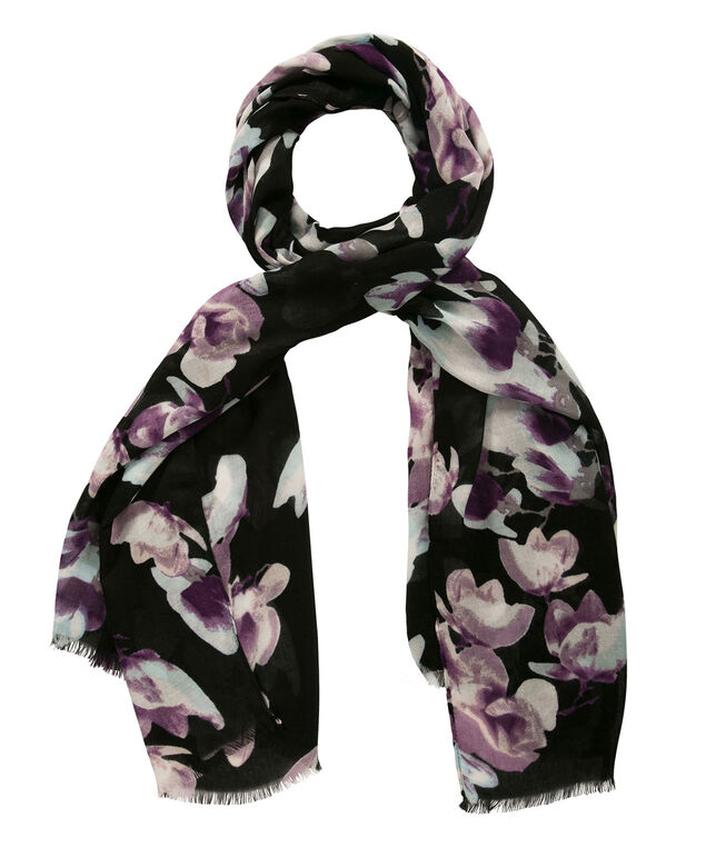 Blossom Print Oblong Scarf, Purple/Blue, hi-res