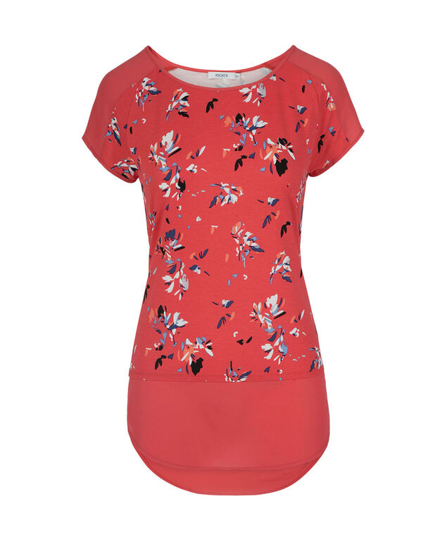 Short Sleeve Chiffon Trim Top, Coral Print, hi-res