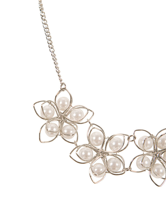 Floral Pearl Statement Necklace, White/Rhodium, hi-res