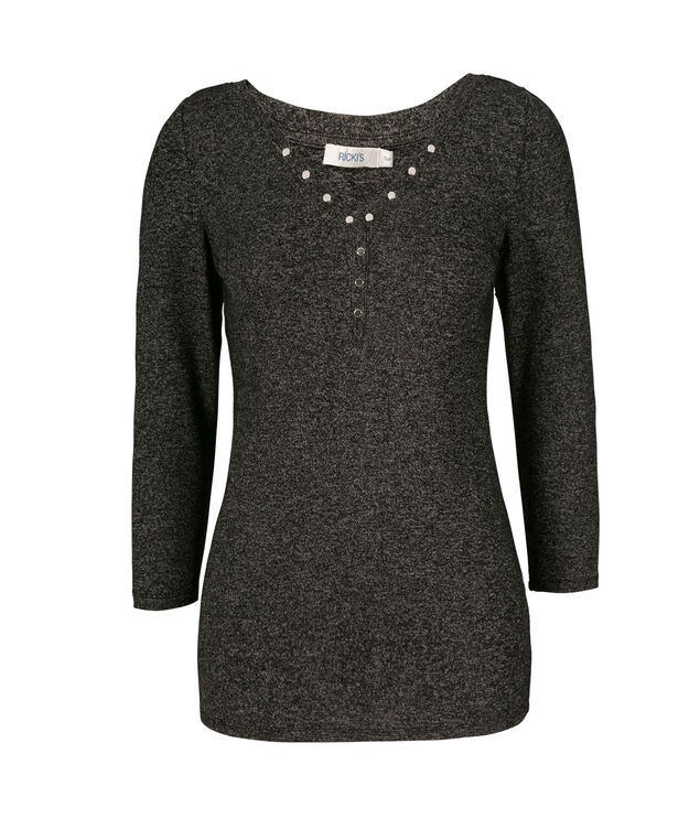 Studded Hacci V-Neck, Black, hi-res