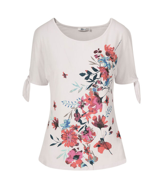 Floral Graphic Cold Shoulder Tee, White Print, hi-res