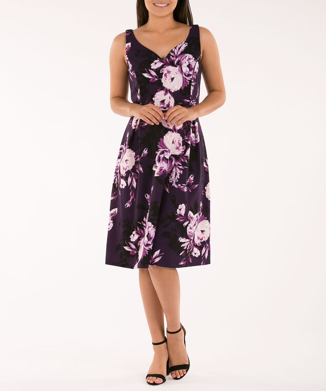 Sweetheart Neck Fit & Flare Dress, Purple Print, hi-res