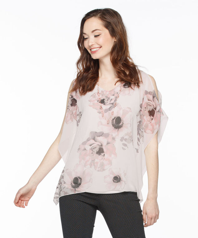 Cold Shoulder Cape Overlay Top, Milkshake Print, hi-res
