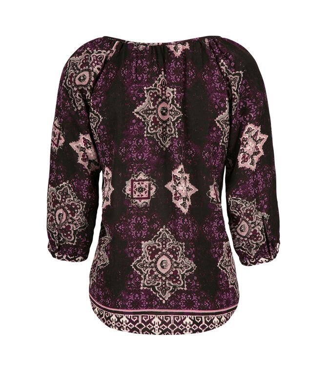 3/4 Sleeve Peasant, Purple/Black Print, hi-res