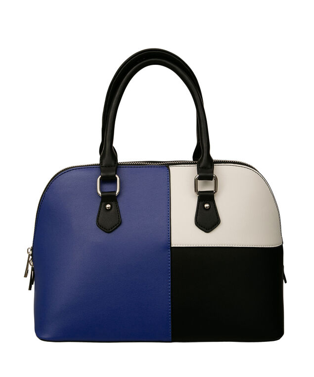 Colour Block Satchel, Cobalt/Black/Milkshake, hi-res