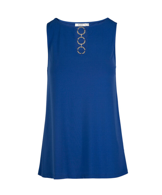 Sleeveless Ring-Front Top, Bright Blue, hi-res