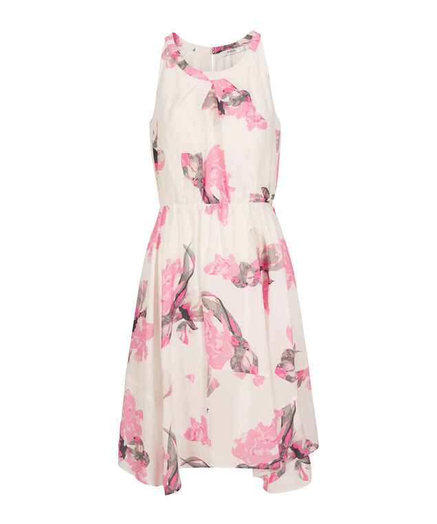 Sleeveless Scoop Neck Floral Dress, Pink Print, hi-res
