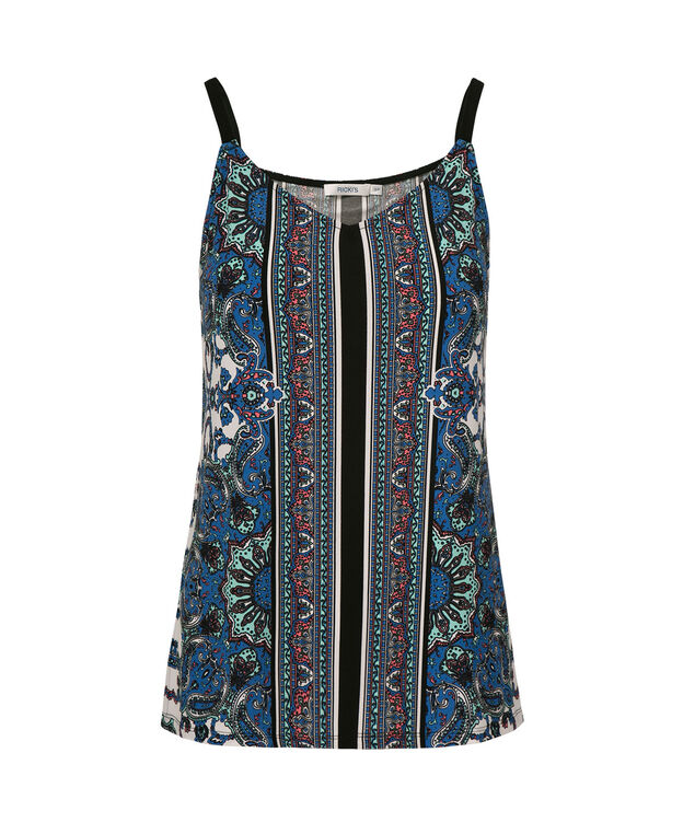 Strappy Scarf Print Tank, Blue Pattern, hi-res
