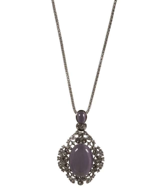 Cateye Crystal Pendant Necklace, Iced Violet/Rhodium, hi-res