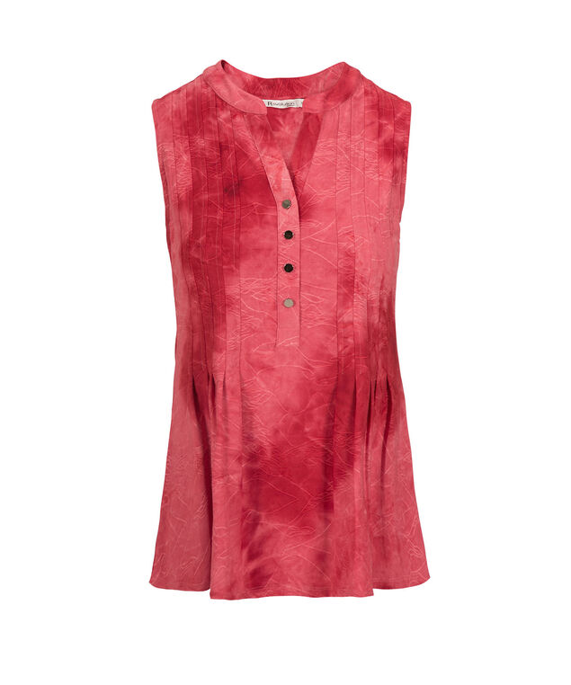 Sleeveless Gomez Pintuck Top, Red, hi-res