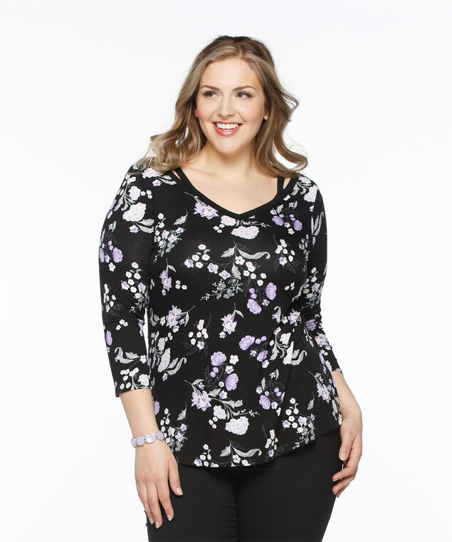 Deep V-neck Peasant Top, Black Pattern, hi-res